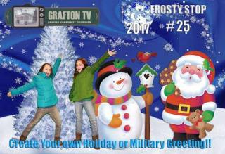 guests perform in front of the green screen during Grafton Celebrates the Holidays